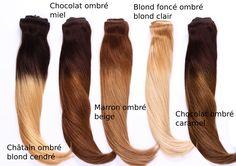 Extensions à clips ombré hair en double drawn. Rajout à clip naturel ombré miel, chocolat, beige, caramel.