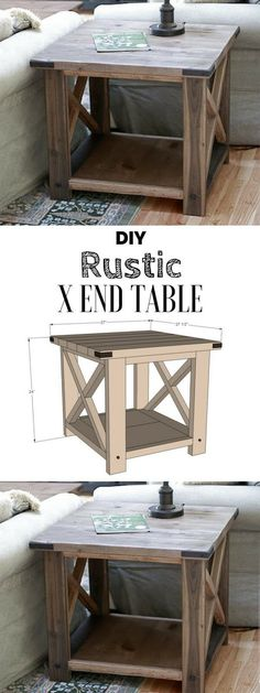 Plans of Woodworking Diy Projects - Plans of Woodworking Diy Projects - Check out the tutorial for an easy rustic DIY end table Industry Standard Design Get A Lifetime Of Project Ideas Inspiration! Get A Lifetime Of Project Ideas & Inspiration! Rustic End Tables, Diy End Tables, Diy Table, Side Tables, Pallet End Tables, Pallet Patio, Farm Tables, Coffee Tables, Entryway Tables