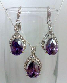 Purple Amethyst Wedding Earrings, Oval Teardrop Bridal Jewelry, Bridesmaids Accessories, PURPLE TWIRL. $49.00, via Etsy.