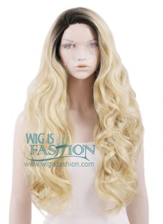 "18""-28"" Long Curly Dark Root Light Blonde Ombre Lace Front Synthetic Wig"