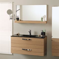 Meuble vasque 2 tiroirs L100xP46xH52cm + miroir + �tag�re THERMA