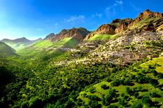 Amazing landscape view of historic Uramanat stepped village in the foothills of the Zagros mountains . . Location: Kordestan province - #IRAN