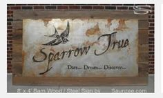 Saunzee Custom Large Barn Wood Steel Sign Rusty Metal Sign Trade Show Exhibits Signs Show Room Laser Cut Sign Old Look Vintage Sign Beautiful Showroom Signs Sparrow True Dare Dream Discover Diy Wood Signs, Rustic Wood Signs, Metal Signs, Look Vintage, Vintage Signs, Vintage Wood, Retro Vintage, Diy Wood Shelves, Floating Shelves