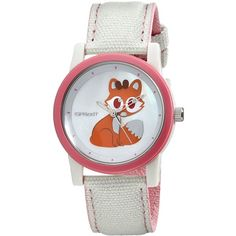 Sprout/5525MPPK Swarovski Crystal Accented Fox Design Beige Cotton... ($34) ❤ liked on Polyvore featuring jewelry, watches, swarovski crystal jewelry, pink jewelry, fox jewelry, analog wrist watch and water resistant watches