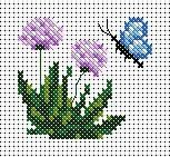 Butterfly and flowers Small Cross Stitch, Butterfly Cross Stitch, Just Cross Stitch, Cross Stitch Cards, Cross Stitch Borders, Cross Stitch Flowers, Counted Cross Stitch Patterns, Cross Stitch Designs, Cross Stitching