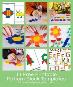 Free Printable Pattern Block Templates from Moms Have Questions Too, plus lots of links to more pattern block templates. Great resource to find any pattern block template you are looking for.