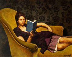 reading art by Marc Chalmé Reading Art, Woman Reading, I Love Reading, Reading Library, People Reading, Book People, I Love Books, Good Books, My Books