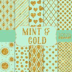 Mint Green and Gold Glitter by SonyaDeHartDesign