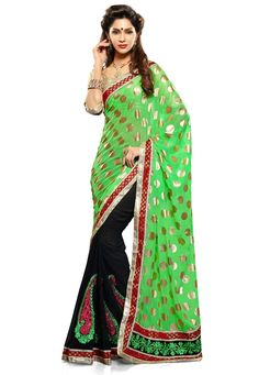 Green-Black Color Chiffon-Georgette Designer Saree With Brocket Blouse Piece