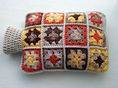 Crochet Hot Water Bottle Cover - Cozy in Shades of Autumn Colours by Aalexi on Etsy