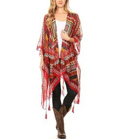 Another great find on #zulily! Red Geometric Open Cardigan #zulilyfinds
