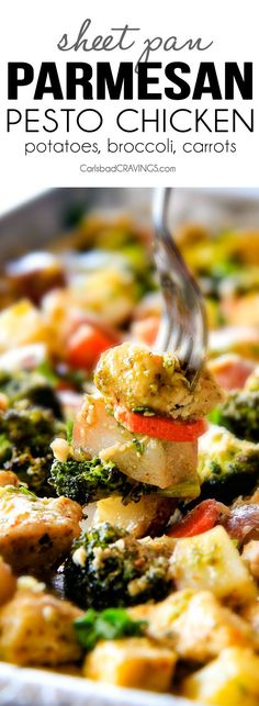I think they meant already made pesto, not just basil 😳 but good anyway! Sheet Pan Parmesan Pesto Chicken with Potatoes, Broccoli and Carrots is a flavor bursting MEAL-IN-ONE and is SO ridiculously EASY with pantry ingredients! Broccoli Recipes, Veggie Recipes, Chicken Recipes, Dinner Recipes, Cooking Recipes, Healthy Recipes, Recipe Chicken, Dinner Ideas, Pan Cooking