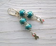 Teal Cancer Awareness earrings silver cancer ribbons Teal