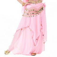 BellyLady Belly Dance Chiffon Full Circular Skirt With Gold Coins