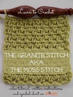 Crochet Tutorial for The Granite Stitch or Moss Stitch