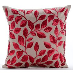 Decorative Throw Pillow Covers Accent Pillow by TheHomeCentric home accent Modern Luxury Mocha Cushion Covers, Cotton Linen Throw Pillows Cover, Square Red Sequins Flower Pillows Cover - Fall Red Leaves Couch Cushion Covers, Throw Pillow Covers, Sofa Throw, Floral Pillows, Linen Pillows, Linen Sofa, Linen Fabric, Cushions, Luxury Duvet Covers