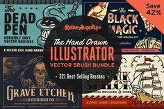 Ad: Hand Drawn Illustrator Brush Bundle by RetroSupply Co. Effects Photoshop, Photoshop Brushes, Photoshop Actions, Stippling Brush, Vector Brush, Adobe Illustrator Cs6, Halftone Pattern, Bristol Board, Affinity Designer