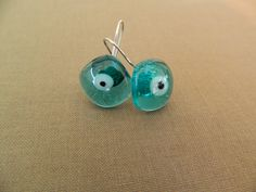 """Fused glass turquoise transparent """"eyes"""" earrings"""