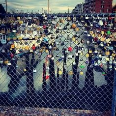 Maine LOVE locks. Between the Portland Lobster Company and Long Wharf on the waterfront of Portland Maine.