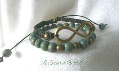 Lot bracelets homme: infini métal bronze, cordon marron fonce cuir véritable. Bracelet élastique perles turquoises : Bijoux pour hommes par le-tresor-de-widad