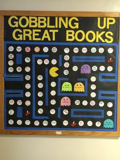 "Pac man reading bulletin board Cute idea for a class room too. As each student finishes a book, they can add a ""dot"". At the end of the year they can look at all the dots they read. Teen Bulletin Boards, Bulletin Board Display, School Themes, Classroom Themes, Classroom Environment, School Ideas, Board Game Themes, Board Ideas, Library Boards"