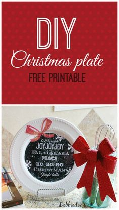 How to make your own Christmas plate dollartree modpodge and free Printable. #debbiedoos. Makes a super cute gift for a buck!