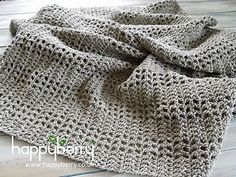 Pretty and airy, this crochets up quickly and nicely and can be made as big or as small as you like! For larger or smaller sizes, work to odd units of 5. so 15, 25, 35 … 85, 95 etc… This is so that the mesh pattern starts and finishes with closed blocks of double crochets.