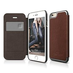 iPhone 6 Case, elago S6 Leather Flip Case for the iPhone 6 (4.7inch) + HD Professional Screen Film included - Full Retail Packaging