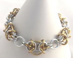 Gold and Silver Anodised Aluminium Chainmaille by ZoesZazzles