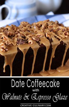 This Date Coffee Cake with Walnuts and Espresso Glaze is so rich and full of flavor, you'll enjoy it with coffee for breakfast or a salad with dinner. Espresso soaked dates and toasted walnuts are the star of the show and the espresso glaze the literal icing on the cake! via @creativculinary