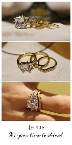 3PC Yellow Gold Parallel Emerald Cut Created White Sapphire Wedding Set Jeulia