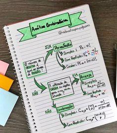 📚📝✍️ Análise Combinatória - Principais Fórmulas ✍️📚📝 Esse resumo é de extrema importância para quem quer acertar as questões desse assunto… Mental Map, Math Notes, Study Organization, Lettering Tutorial, School Notes, Study Inspiration, Studyblr, Study Notes, School Hacks