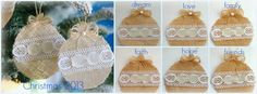 Burlap and lace I love you: Christmas ornaments
