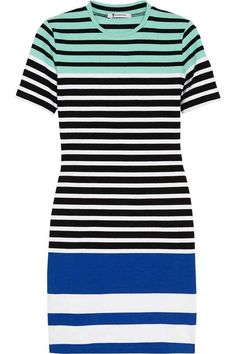 T By Alexander Wang | Striped stretch-cotton mini dress #byalexanderwang #striped #dress