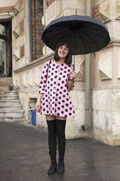 Ana Morodan, Pink Polka Dots Hurricane Street Style Bucharest. Street Fashion Bucharest.