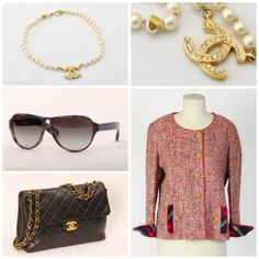 vintage clothes with a Chanel Jacket + vintage jewelry with a Chanel neckless + vintage bag with a Chanel Jumbo bag + vintage sunglasses with those Chanel sunglasses. All for sale on www.design-only.com