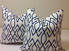 Geometric  pillow shams - ONE  DECORATIVE THROW pillow cover  Navy and Cream  High End Pillow  Accent  cushion covers