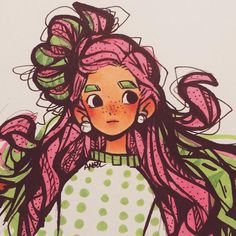 AYO STOP! LET ME PUT IT DOWN ANOTHER WAY ~ANYWAYYS HERE IS SOME GAL WITH ACTUAL WATERMELON INSPIRED HAIR(cuz remember that one chic where she had hair that looked like it was either strawberry or watermelon but here it's like ye) YAAAAAA #drawing #drawings #draw #illust #characterdesign #oc #design #character #cartoon #watermelon #sketch #pen #sketches #sketchbook #art #marker #illustration #style