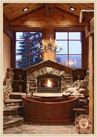 Underbart rustikt badrum