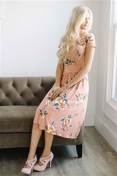 Peach Yellow Peony Floral Pocket Dress, Modest Dress Bridesmaids Dress, best modest boutique, cute modest clothes, modest dresses, best online modest boutique, floral dresses, modest dresses for church, modest skirts, buy modest clothes online