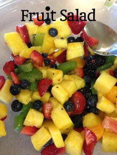 Summer Fruit Salad. Sweet pineapple, strawberries, apple or nectarine and / or grapes, or what you see here. Annie