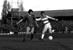 Stan Bowles in action for QPR taking on  Liverpool's Alan Hansen in 1977
