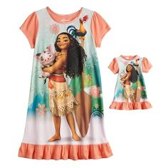 Give your Disney's Moana fan and her doll BFF fun bedtime style with this girls' nigthgown and doll nightgown set. Gowns For Girls, Girls 4, Girls Dresses, Boys Pjs, Girl Outfits, Cute Outfits, Disney Princess Pictures, Toddler Fashion, Toddler Dress