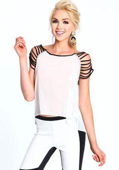 Shredded Sleeves Blouse, WHITE, large