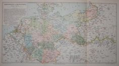 "middle europe map german 1894 lithograph 9.5 x 16"" $50"