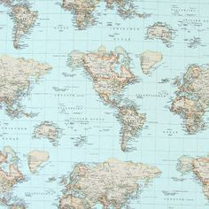 Travel The World - Algodón - Poliéster - azul agua