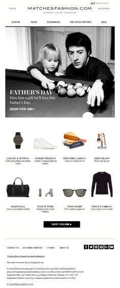 Matches Fashion Father's Day email with gift recommendations #EmailMarketing #Email #Marketing #FathersDay #Fathers #Day #Gift #Product #Recommendations #Fashion
