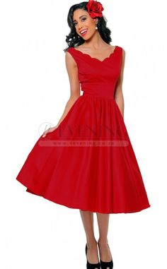 Glamorous Red V-Neck A Line Evening Dress(JT4E-0466)
