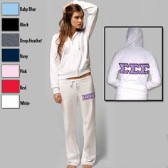 Sorority Bella Hoodie and Pant Package with Twill Letters $75.95 #Greek #Sorority #Clothing