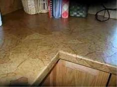 Decoupage countertops! OMG! What. If. You did it with a heavy scrapbook paper in a slate grey! Imma do it!